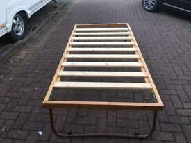 Fold down slatted single pine bed frame
