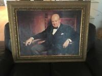 Churchill Oil on Board Painting