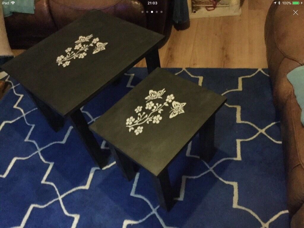 Matching shabby chic coffee and side table set