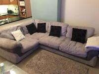 Grey fabric corner sofa (Large )