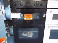 EX-DISPLAY BLACK HOTPOINT INTEGRATED DOUBLE OVEN (12 month warranty) REF: 11524
