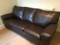 DFS Sofa Bed with upgraded premium leather - hardly used