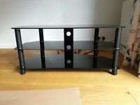 TV stand - Black with 3 Shelves - As new