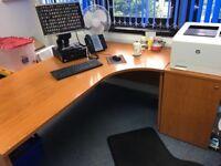 4 large office desks with pedestals