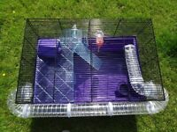 Large hamster cage with tubes, wheel, and usual accessories