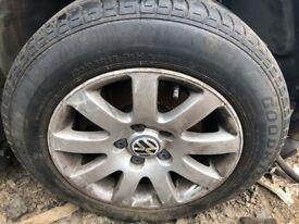 "1999 - 2005 VW PASSAT 15"" 9 SPOKE ALLOY WHEEL RIM & TYRE 195/65R15 SET OF 4"