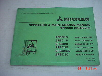 Mitsubishi Forklift Service Manual Tr3000 3648 Volt Dated 1095