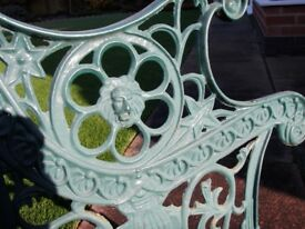 CAST IRON GARDEN SEAT ENDS WITH LIONS HEAD ON SIDE