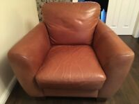 Leather 3 seater sofa, armchair, and footstool