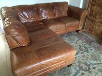 DFS rustic leather corner sofa