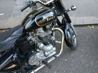 Royal Enfield Bullet 500 Classic black & gold. Low mileage ridden in dry, serviced & taxed for year.