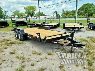 New 2020 7 X 20 14k Heavy Duty Flatbed Wood Deck Equipment Trailer W Ramps