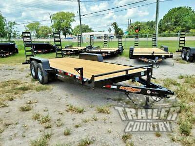 New 2021 7 X 20 14k Heavy Duty Flatbed Wood Deck Equipment Trailer W Ramps