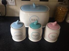 Ceramic bread bin, tea coffee sugar jars