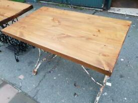 Small Table / Desk With Antique Metal Distressed Paintwork Base