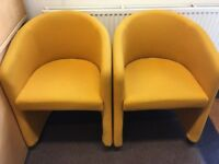 4 GOLD/YELLOW BUCKET CHAIRS ON WHEELS