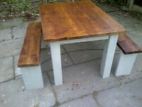 FARMHOUSE TABLE 2 benches heavy with rustic reclaimed tops SHABBY CHIC app 4ft x 3ft