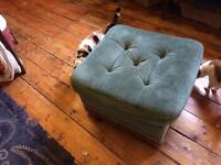 Green pouf or foot stool