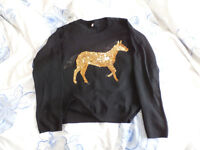 Black jumper with gold sequin horse, New