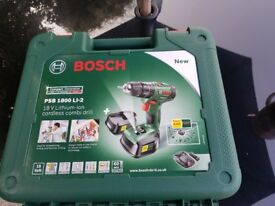 bosch psb 1800 li-2 cordless combi drill with 2 batteries brand new in box