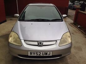 Honda Civic 1.6 i-VTEC SE Sport Hatchback 3dr £1349 REDUCED FROM £1700 Good condition drives perfect