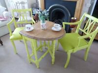 Oak tea table with two chairs. Vivid lime shabby chic vintage. Really nice......