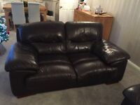 2 and 3 seater brown leather sofas with pouffe