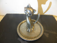 Vintage Silver Plate Funky Cat Ring Tray, Ring Tree, Jewellery Holder