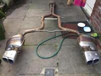Porche panamera sports exhaust system including end tips