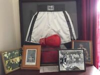 Signed boxing gloves, shorts and photos- Ali, Eubank, Benn, Hatton plus more