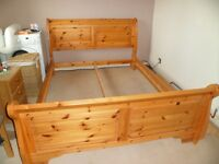 Kingsize solid pine bed and mattress