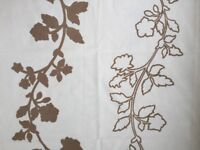 Curtain Material - cream background with beige leaf design
