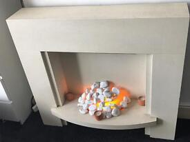 Cream fireplace