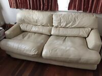 Free White Leather Sofa-Bed in working condition - free, collection only