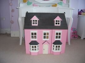 Beautiful Three Storey Pink Wooden Dolls House fully furnished