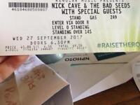 Nick Cave standing ticket Glasgow Hydro Wednesday 27th Sept