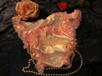Baby pinkSexy pure silk hi cut satin tanga panties. L/ XL UK Size 14/16/18