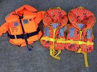 3 x children's life jackets