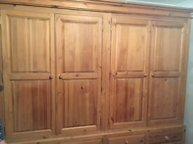 Solid pine bedroom furniture inc double wardrobes, double bed frame, side tables and dressing table