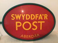 SIGN - POST OFFICE SIGN - 'POST OFFICE, ABERDARE / SWYDDFA'R POST, ABERDAR'