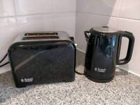 Black russell hobbs kettle and toaster