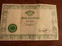 Vintage Cabbage Pathc Kids Birth Certificate from early 1980's