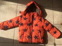 Boys really warm Boden coat age 4-5 jacket orange hooded