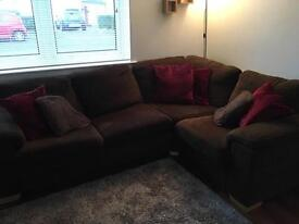 Brown L shaped couch/couch bed