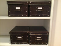 IKEA 4 brown storage boxes with lid and magazine file set of 4