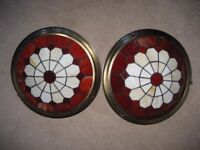 Tiffany glass style shades with antique brass colour surrounds