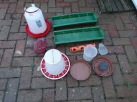 REDUCED - Chicken / Poultry feeders + bouncer and water containers ( Used)