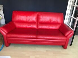 Red leather sofa dfs