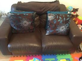 **REDUCED** Brown Leather Two Seater Sofa..