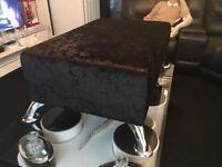 Large crushed velvet footstool